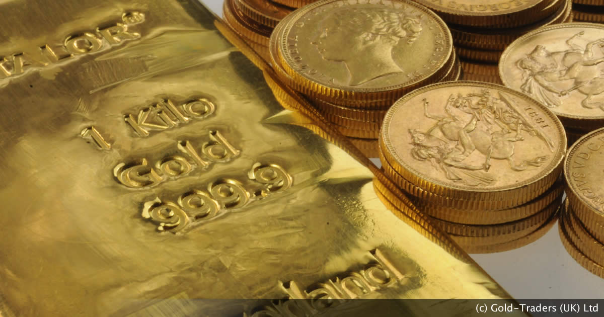 A gold bar and piles of gold Sovereigns