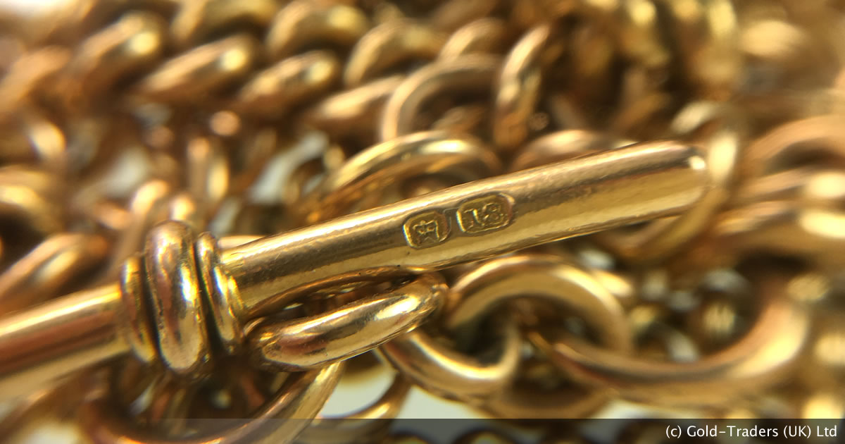 An 18ct gold watch chain