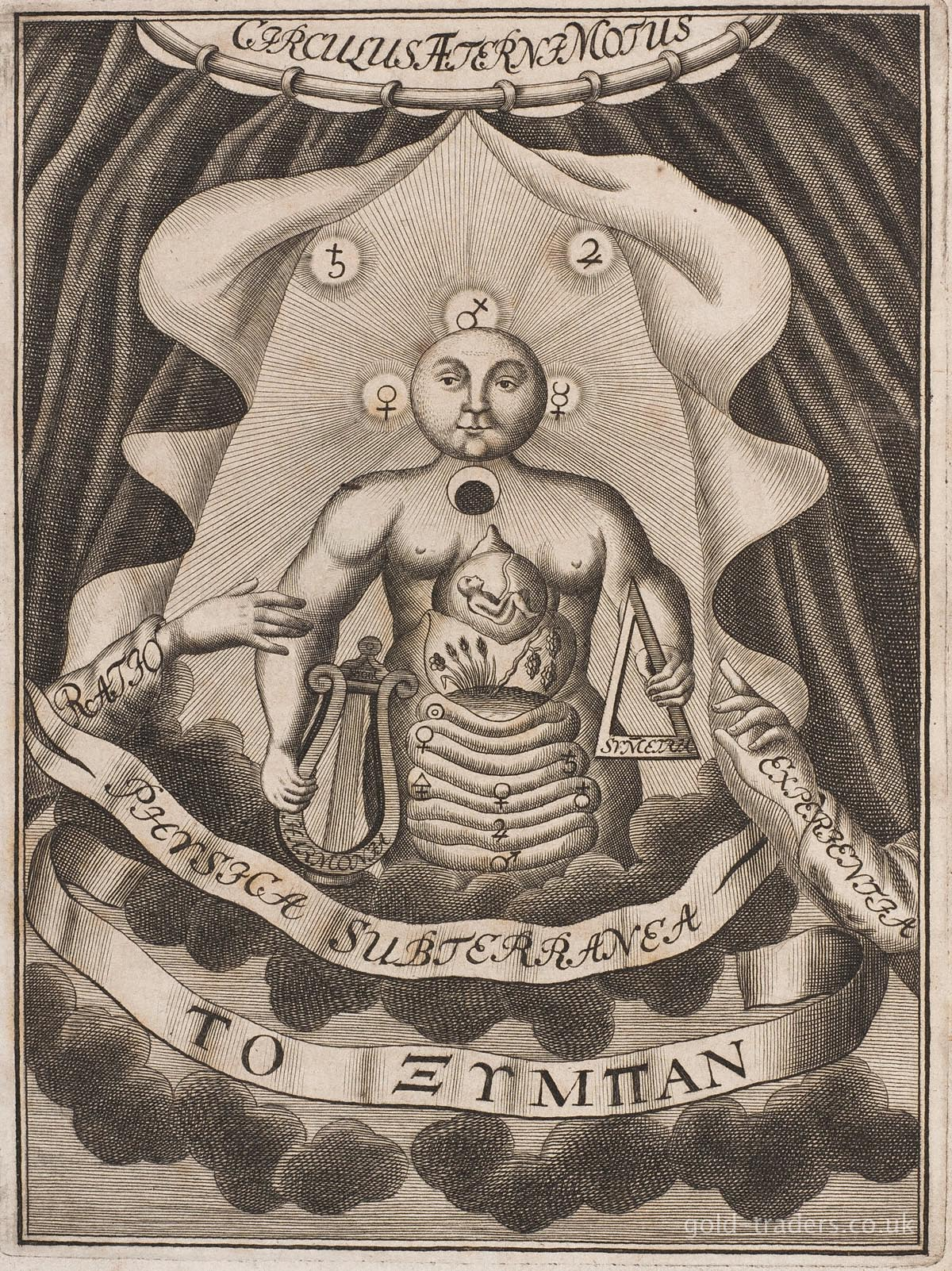 Symbols for metals growing in the bowels of alchemical man